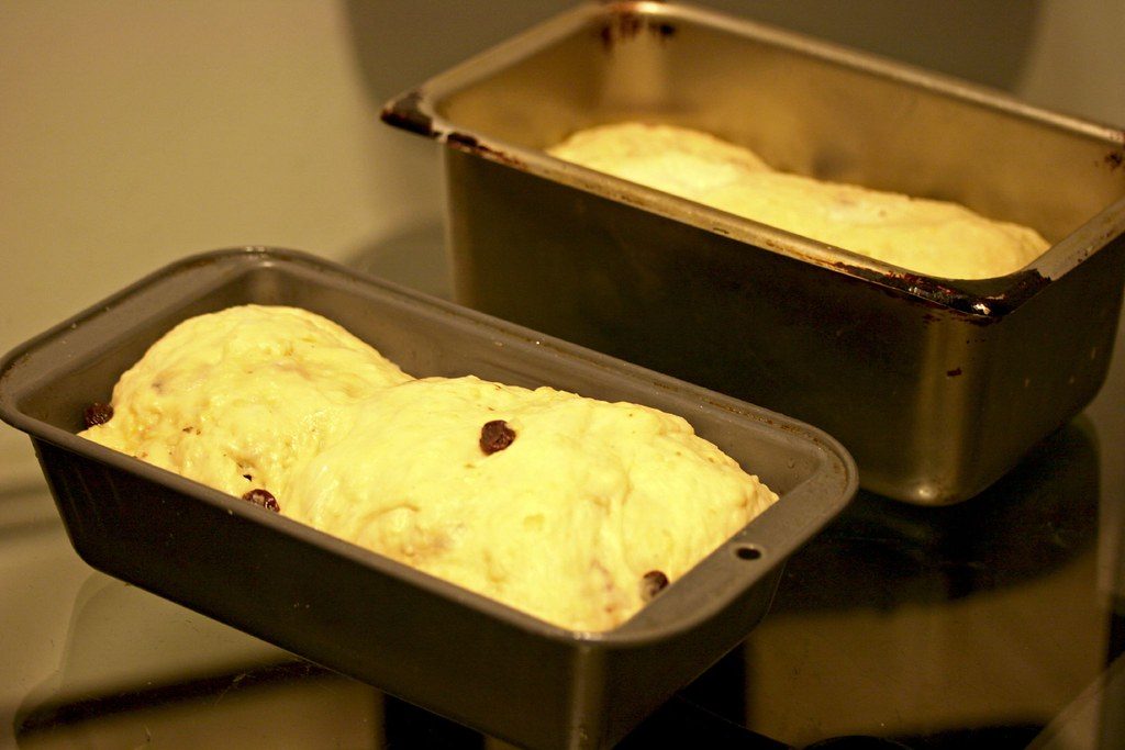 Loaves of Coconut Raisin Bread after overnight proofing in the fridge