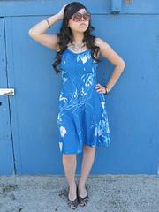 vintage floral sun dress (loveloveloveus) Tags: blue sun white flower floral leaves vintage 60s ebay dress princess strap hawaiian 70s 1960s lovelovelove spaghetti 1970s seams