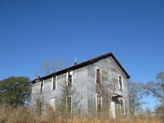 Old building on TX105 entering Washington County, Texas, USA