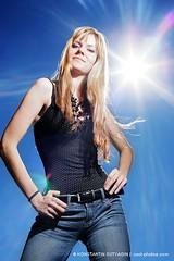 Hot winter in Arizona (Konstantin Sutyagin) Tags: blue portrait sky woman sun sexy girl fashion lens day young jeans blond flare strobist sutyagin