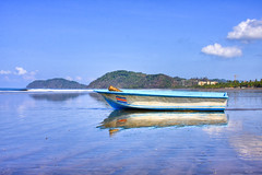 Fishing Boat on Jaco Beach (Erik Holmberg) Tags: ocean blue costa mountains praia beach water azul clouds america boat sand costarica surf barco central rica beaches hdr jaco centralamerica jacobeach