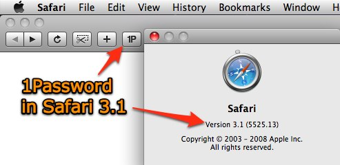 1Password Supports Safari 3.1