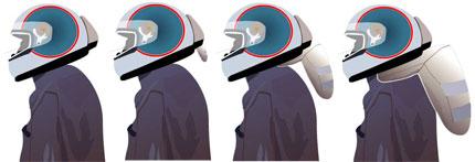 desenho capacete com airbag em funcionamento