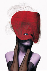 The Doge Knows: Philip Treacy's futuristic Venetian mask, photographed by Irving Penn for Vogue, December 1996. (Cafe Hangout) Tags: red eye beauty fashion model december mask 1996 violet vogue venetian photographed knows futuristic doge philiptreacy irvingpenn