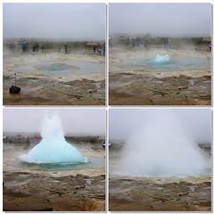 A Large Geyser in West Iceland, Four-Frame Mosaic (otavio_dc) Tags: iceland europe geyser geysir sland northerneurope midatlanticridge westiceland republicoficeland lveldisland