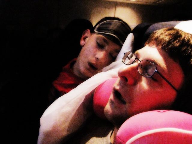 Asleep on the plane