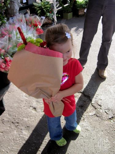 loving her flowers