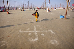 Auspicious Symbols (Leonid Plotkin) Tags: india festival asia traditional swastika religion ritual tradition hindu hinduism mela sangam allahabad pryag maghmela