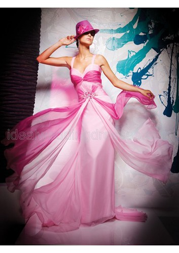 Chiffon Sweetheart Neckline A-Line Gown with Gathered Bodice and Crisscross Cascading Streamers with Beaded Accent 2011 Hot Sell Prom Dress P-0396