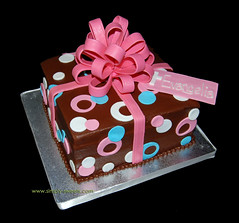 pink sassy circles package cake