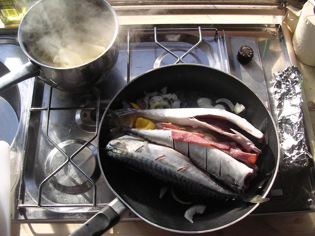 Mackerel cooked in van