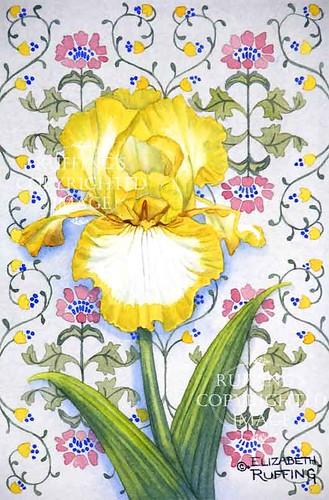 """""""Yellow and White Iris on Blue"""" ER15 by Elizabeth Ruffing"""