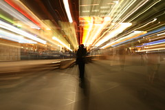Standing Alone (Trevor_Page) Tags: motion blur night zoom photographyclass civic canberra garemaplace trevorpage