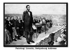 painting of Lincoln, Gettysburg Address