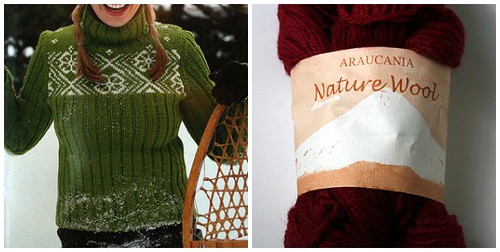 ribs and snowflakes in berry nature wool