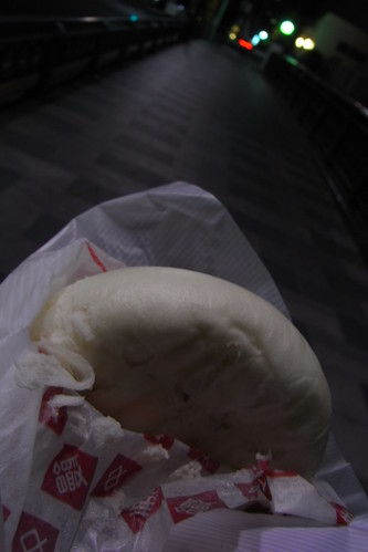 hot steamed bun on the cold night