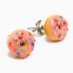 pink sprinkled donut studs (inediblejewelry) Tags: pink food cute breakfast miniature handmade craft doughnut earrings tinyfood studs inedible