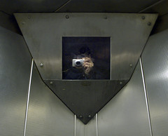 Elevator CCTV, Bentinck Court Apartments, Sneinton, Nottingham, England, 12 February 2008 (Dr John2005) Tags: camera city nottingham uk england urban selfportrait color colour reflection observation democracy unitedkingdom surveillance watch elevator watching cctv transparency ascensor watcher midlands sousveillance juvenal sneinton