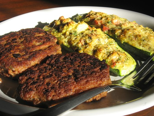 Turkey and bean burger with stuffed zucchini