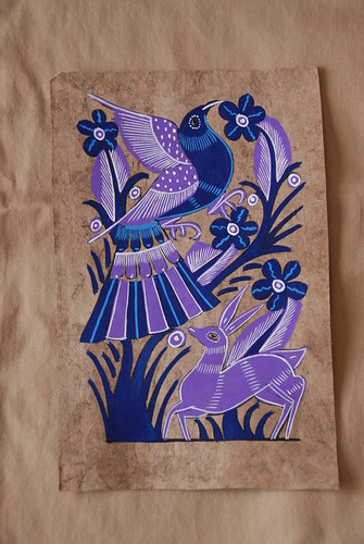 Mexican bark painting with bird
