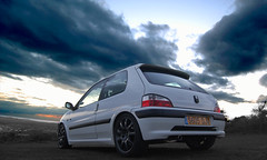 Dramatic Clouds = Good Pic! (Revels) Tags: macro scenic clean modified gti peugeot alloys indigoblue snowfoam 106gti