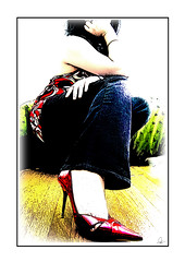 Red Heels 2 (tishay) Tags: red feet me myself shoes colorful highheel pumps highheels tisha jeans heels denim heel aldo stiletto stilettoheels redshoes hardwoodfloor stilettos redheels pointyshoes stilettoheel aldoshoes redpumps i challengeyouwinner highheelsart