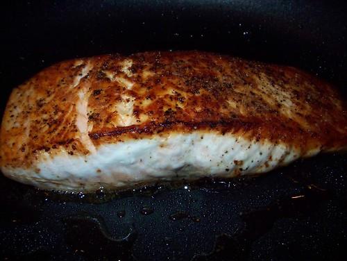 crisping salmon