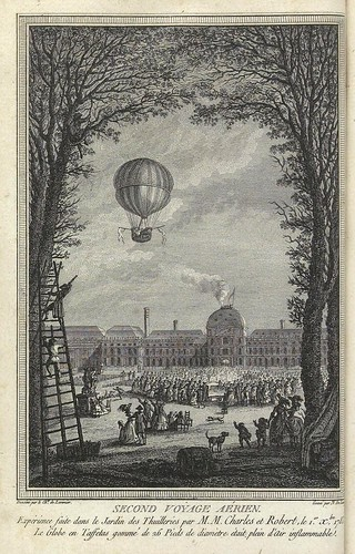 Segundo viaje aereo-Jardin de las Tullerias 1783-Globo de tela engomada con aire inflamable