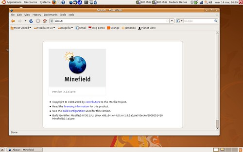 Firefox 3.1 pré-alpha1 sous Ubuntu 8.04 LTS