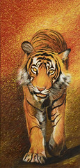 Ranthambhore Tiger (Shubnum Gill) Tags: life wild orange india color art yellow forest painting landscape asia gorgeous delhi indian tiger royal canvas bigcat jungle painter oil environment bengal tigris rajasthan newdelhi ranthambhore panthera shubnum endengered shubnumgill shubnamgill wwwshubnamgillcom