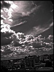 Other skies (- FREDERIC MARS -) Tags: sky window clouds freedom blackwhite flat ciel libert nuages appartement consciousness fenetre noirblanc conscience justclouds