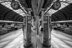 Darlington Reflection (scarlet-pimp) Tags: darlingtonstation monochrome travel darlington train people mono travelphotography clock blackandwhite travelgram trainstation england unitedkingdom gb day monochrone