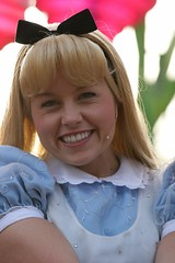 Alice in Wonderland (FrogMiller) Tags: charity cute smile smiling pretty julie alice disneyland gorgeous adorable disney blond blonde orangecounty anaheim choc charitywalk aliceinwonderland disneyprincess walkinthepark paradeofdreams disneycharacters childrenshospital chocwalk castmember disneyparade disneylandparade