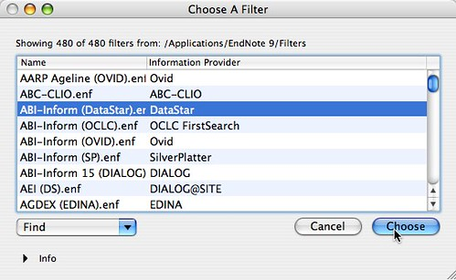 Choose A Filter in EndNote