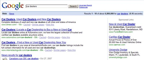 "Behavioral Targeting Take 2: ""car dealers"""
