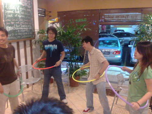 Hula hooping.
