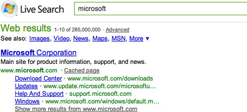 Microsoft Sitelinks