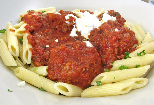 Tuesday Special: Lamb Meatballs in Slow-Cooked Tomato Sauce with Black Olives
