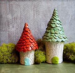 Together (jessicajane.love) Tags: door orange house tree green moss gnome aqua village little handmade shingles small storage clay stump faux lichen birch bois polymer