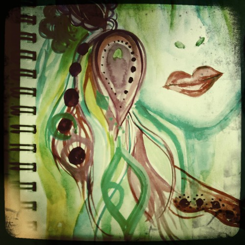 art journal page detail hari & lips