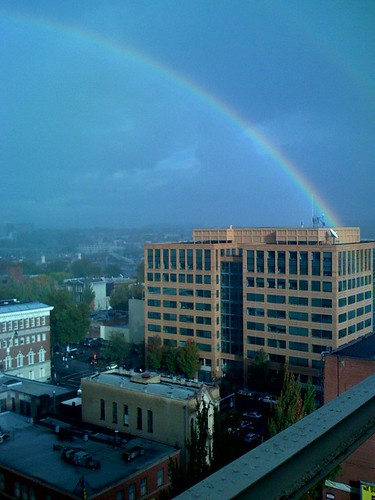 12th floor of Spalding Building, Portland, Oregon 97204: portland rainbow taken by C-block with his iPhone for PDX PIPELINE