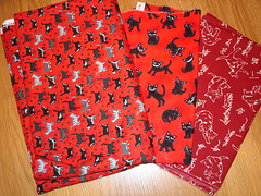More red fabrics for a quilt