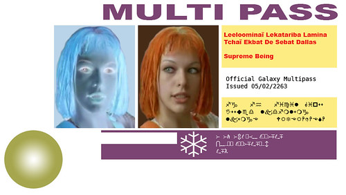 Pass connect gratos: picture Leeloo Dallas Multipass by erinob