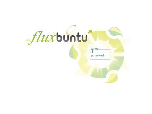 L'écran de connexion de Fluxbuntu