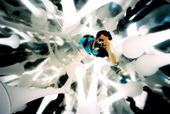 the matrix (troutfactory) Tags: light white selfportrait art film strange matrix japan flying fantastic artwork voigtlander surreal rangefinder exhibit exhibition kobe  analogue unreal biennale kansai luminous 15mm bessal outofthisworld 2007 tendrils heliar  shippingcontainer biomorphic whiteheat dolphinkick  reflectionvoidproject