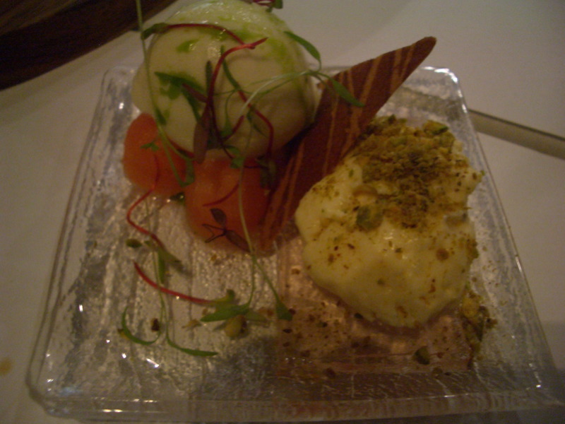 Fetta mousse with green apple gelato