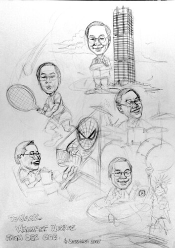 Caricatures DBS pencil sketch