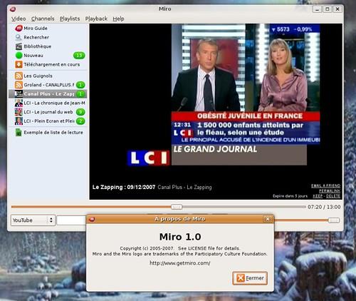 Miro sous Ubuntu Linux avec le zapping en fond.