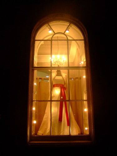 A wedding dress in a window of a shop on Waterloo Place