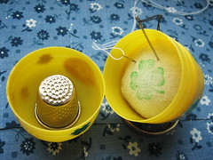 matryoshka pincushion on the go (inside) (ccyytt) Tags: green yellow sticker recycled handmade pincushion clover kindersurprise matryoshka